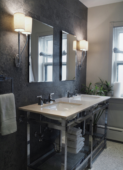 primary bath with grey marble walls and Urban Archaelogy vanity