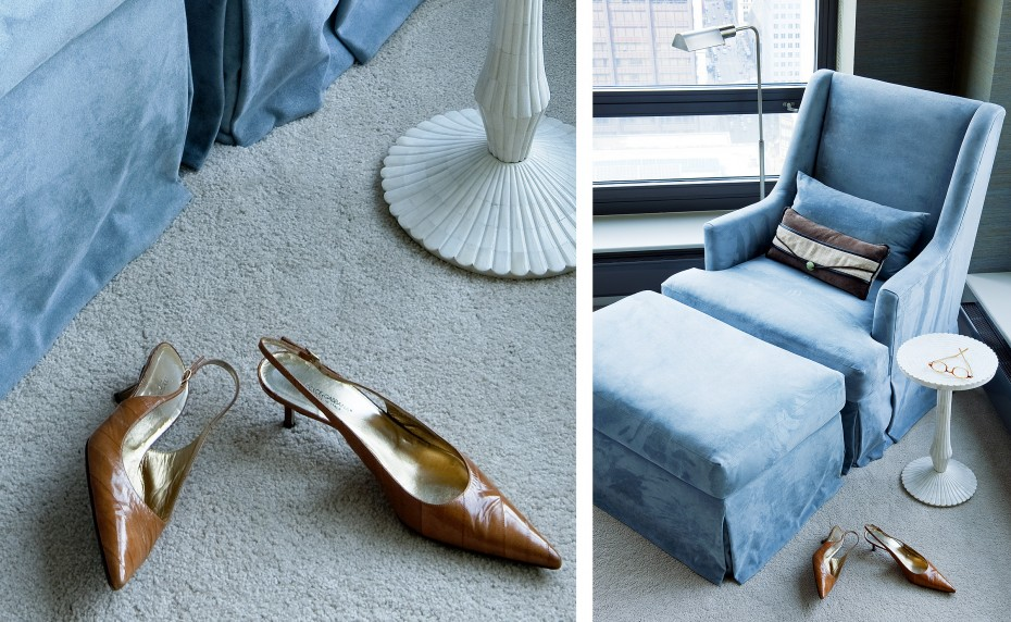 blue leather chair with ottoman and shell side table