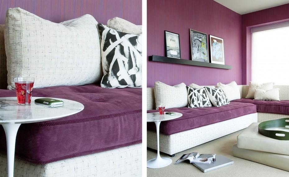 elitis stripe paper dark purple with Lignet Roset sofa w Saarinen Knoll table