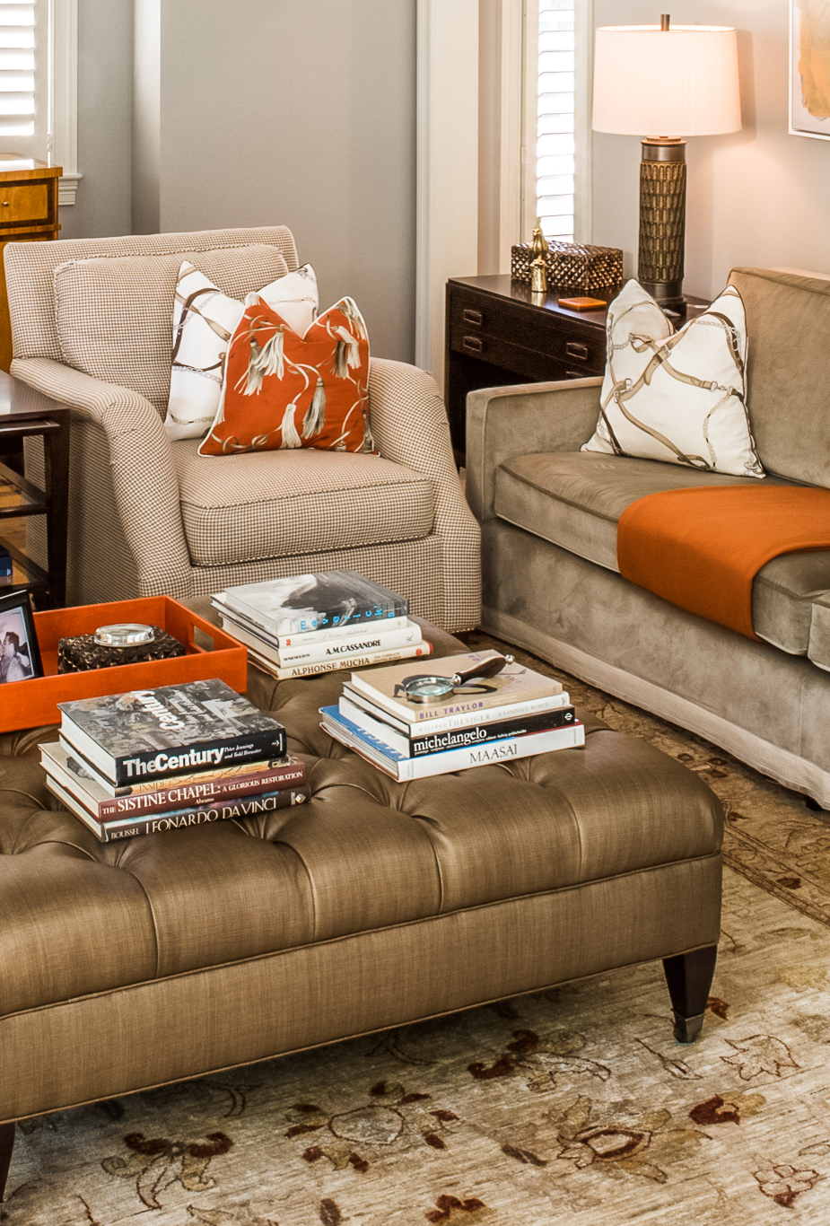 living room furniture with chairs, sofa, lamps ottoman