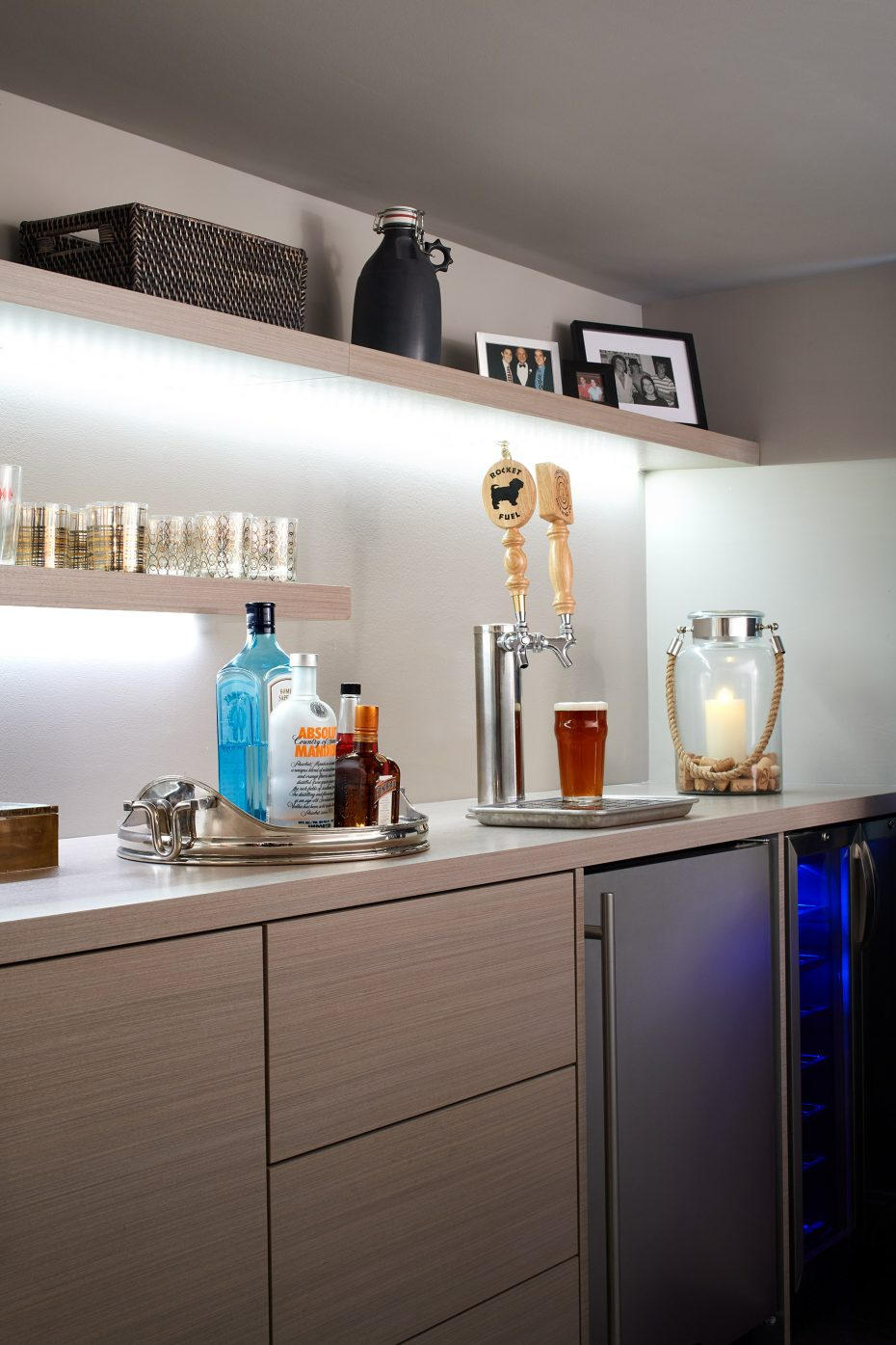 light colored bar with kegerator and wine refrigerator
