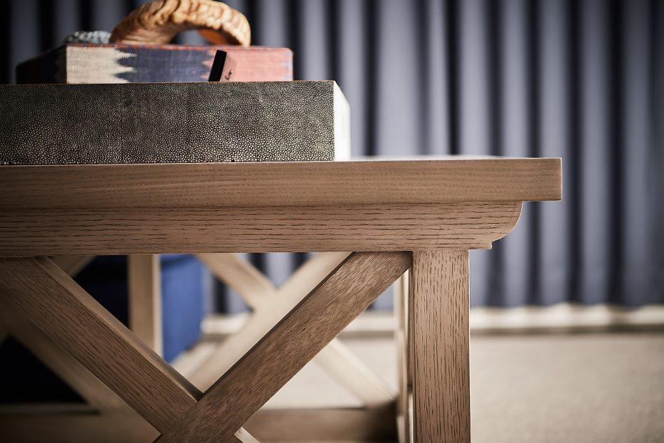corner detail of a custom light oak coffee table