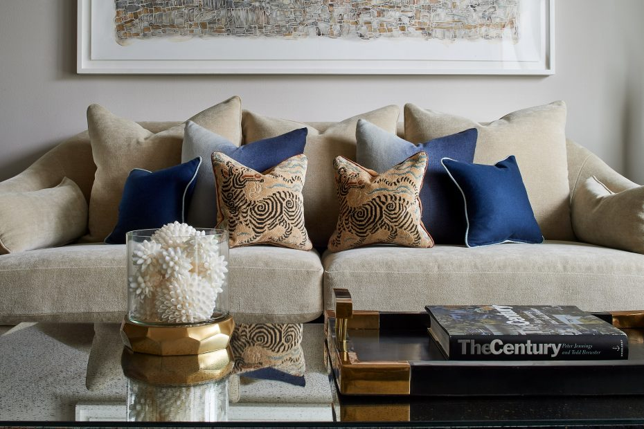 closeup of custom pillows on a sofa in clarence house fabric