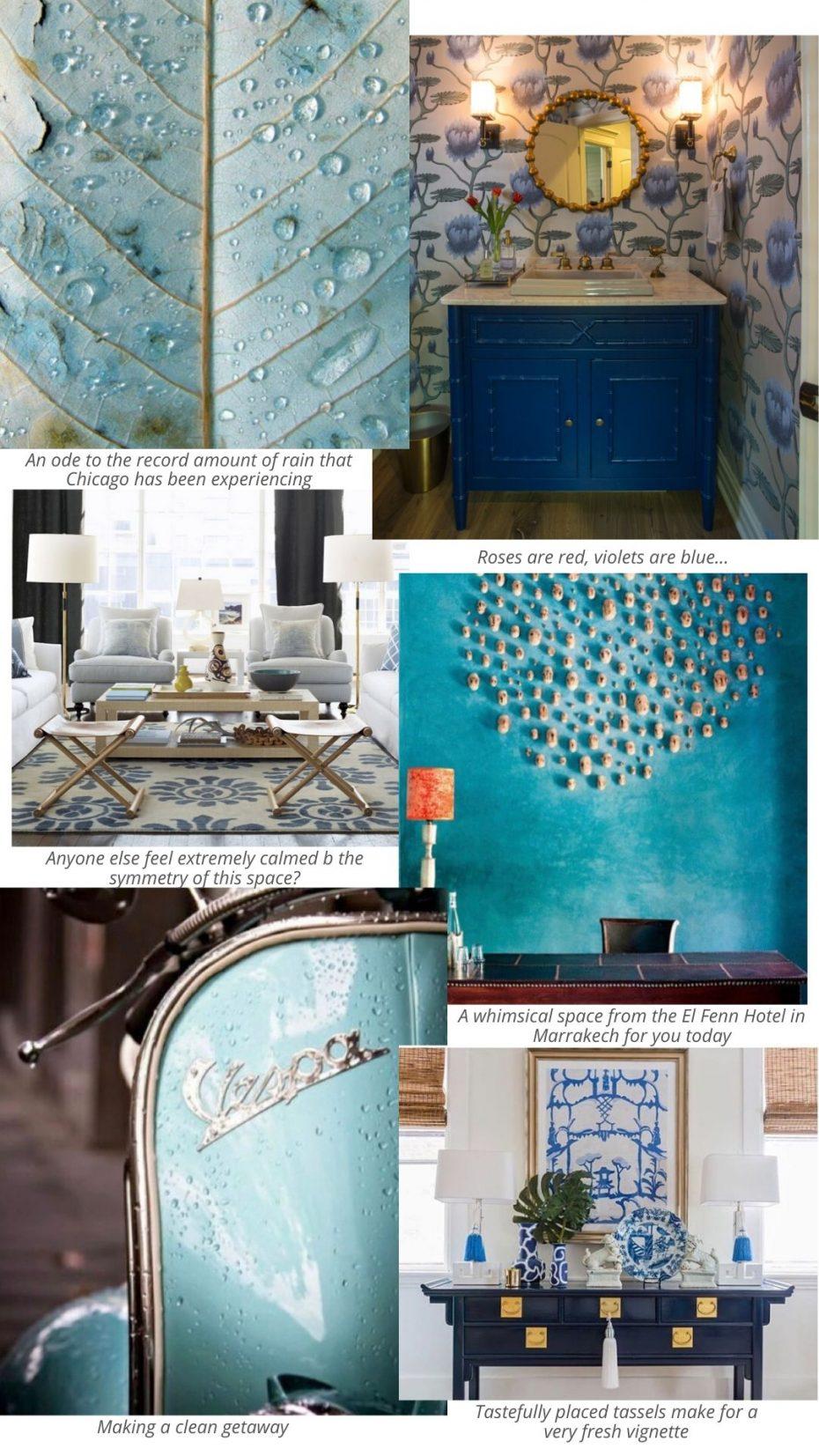 Mood board of blue color palette Inspiration images