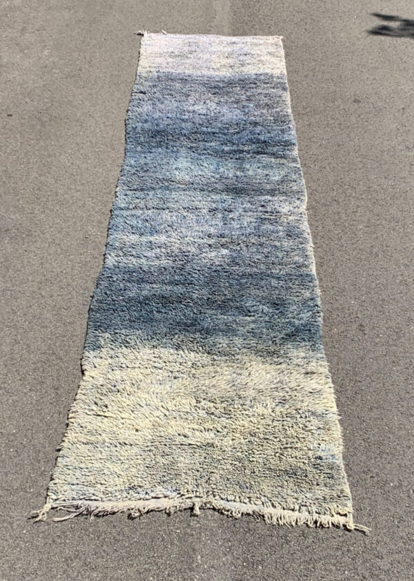 "Vintage moroccan berber rug. Little Blue Mamba. 2'-9""x13'-0"". $1200. blue beni m'guildblue runner, SKU 142-11LB"