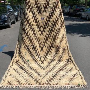 "Mid-Century Talsint Moroccan rug. Vintage, handwoven Berber rug. 10-6"" x 6 Saw Moroccan rug, cream and brown with flecks of red and green. SKU 142-12 $1900"