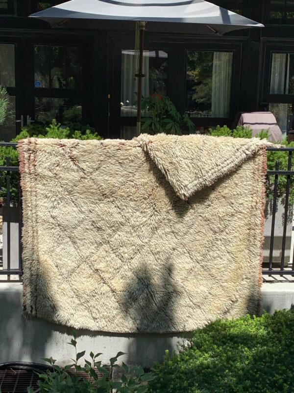 """Beni Ourain rug. Heavy wool cream and terra cotta colored rug. 10' x 6"""". $2250. sku 142-13CC"""
