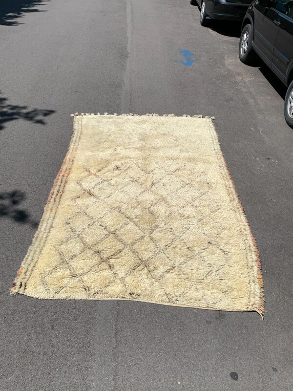 "Beni Ourain rug. Heavy wool cream and terra cotta colored rug. 10' x 6"". $2250. sku 142-13CC"