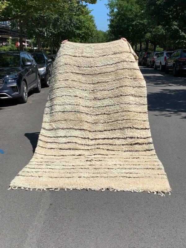 Striped Beni Ourain Plush rug. Cream and brown heavy wool rug. Sku 142-14SS. $1950