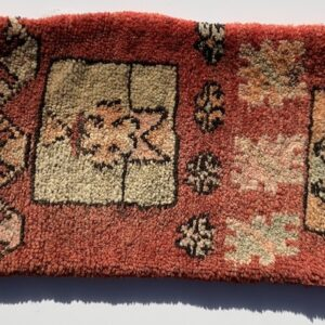 """Moroccan pillow made from antique hand woven rugs, 2 sided pillow - thick plush wool on one side and flat wool on the opposite. 26""""x12"""". SKU 143-01. $125. Insert $50"""