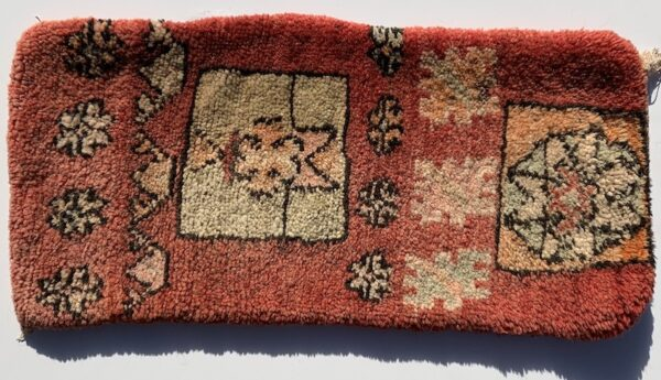 "Moroccan pillow made from antique hand woven rugs, 2 sided pillow - thick plush wool on one side and flat wool on the opposite. 26""x12"". SKU 143-01. $125. Insert $50"