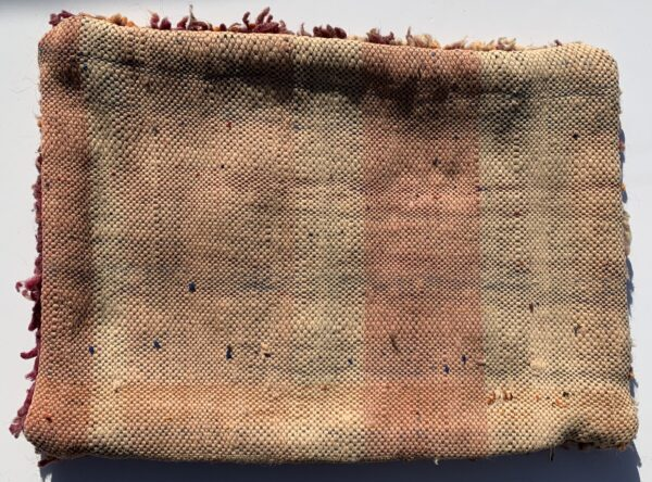 """One of a kind. Moroccan pillow made from antique hand woven rugs, 2 sided pillow - thick plush wool on one side and flat wool on the opposite. 20""""x14.5"""" SKU 143-04. $115. Insert $50"""