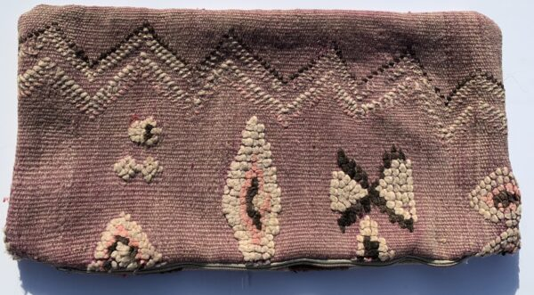 """One of a kind. Moroccan pillow made from antique hand woven rugs, 2 sided pillow - textured wool on one side and flat wool on the opposite. 23.5"""" x 12"""" SKU 143-05. $120. Insert $50"""