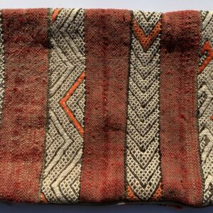 "One of a kind. Moroccan pillow made from antique hand woven rugs, 2 sided pillow - textured wool on one side and flat wool on the opposite. 19""x13.25"". SKU 143-06. $95. Insert $50"