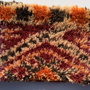 """One of a kind. up-cycled Moroccan pillow made from antique hand woven rugs, 2 sided pillow - plush wool on one side and flat wool on the opposite. 17 """"x 11.5"""". SKU 143-09. $105. Insert $50. poppy-vintage-moroccan-pillow"""