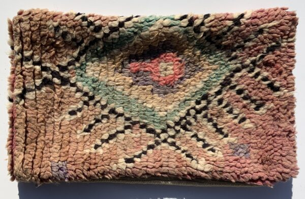 """One of a kind. Moroccan pillow made from antique hand woven rugs, 2 sided pillow - plush wool on one side and flat wool on the opposite. 21""""x12.50"""". SKU 143-11. $95. Insert $50"""