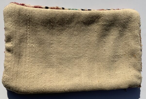"""One of a kind. Moroccan pillow made from antique hand woven rugs, 2 sided pillow - plush wool on one side and flat wool on the opposite. 21"""" x 12.5"""". SKU 143-11. $95. Insert $50"""