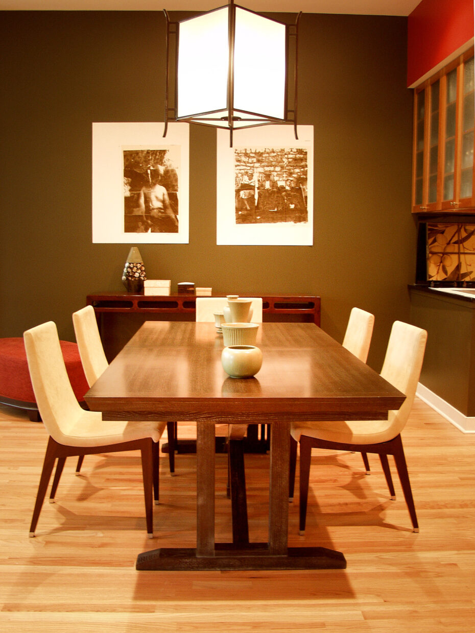 trestle table, asian lantern light fixture from Pagoda Red, dining chairs from Lignet Roset