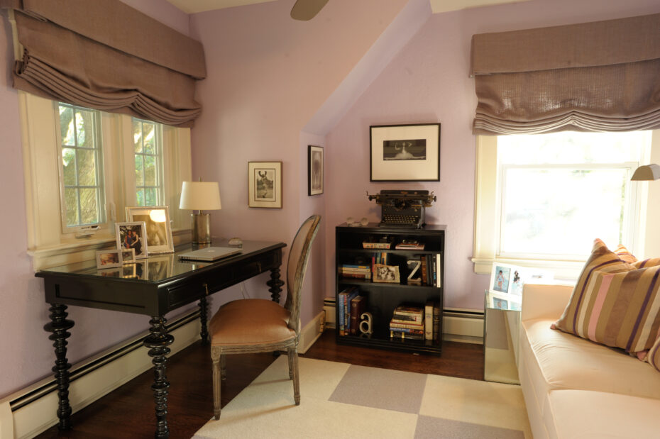 Purple den with Flor tiles and white sofa