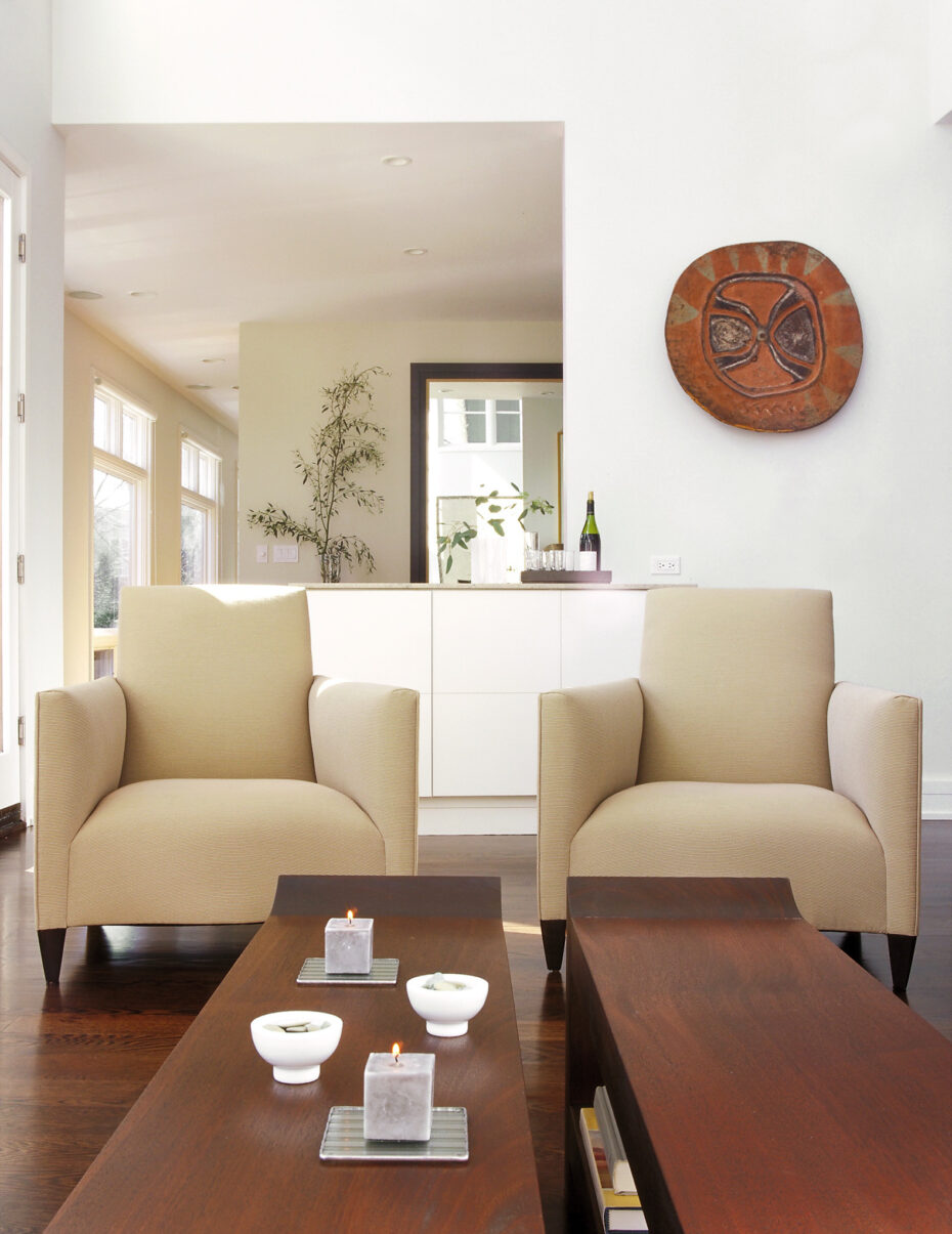 donghia chairs and asian walnut benches
