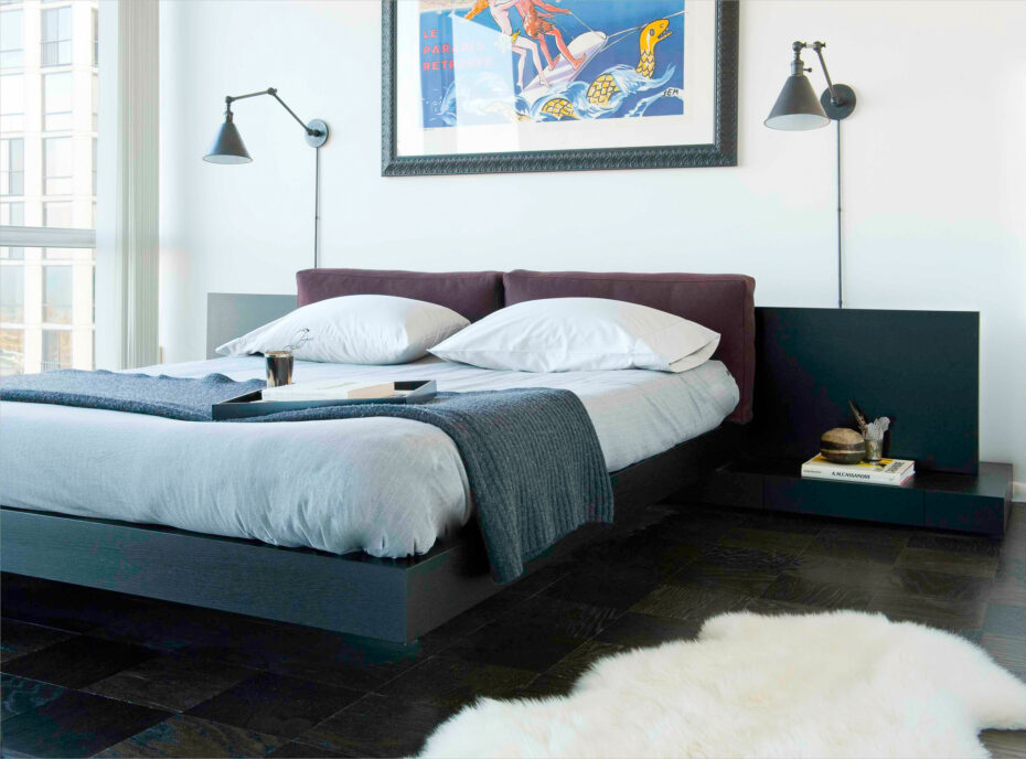 modern bed, B&B Italia dark wood headboard and built in side tables, large art and wall sconces from circa lighting