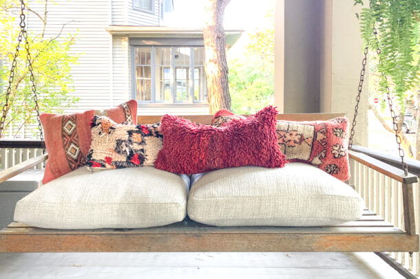 Red pillow. Four Moroccan pillows. Each pillow is one of a kind. Moroccan pillow made from antique hand woven rugs, 2 sided pillow - plush wool on one side and flat wool on the opposite.