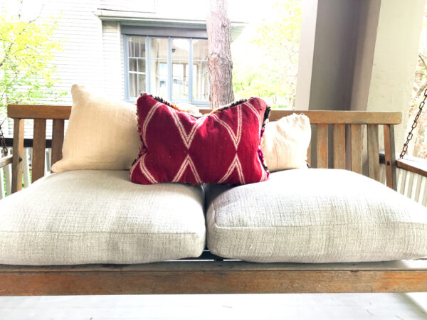 Three Moroccan pillows. Each pillow is one of a kind. Moroccan pillow made from antique hand woven rugs, 2 sided pillow - plush wool on one side and flat wool on the opposite.