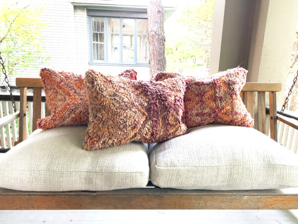 "One of a kind. Moroccan pillow made from antique hand woven rugs, 2 sided pillow - thick plush wool on one side and flat wool on the opposite. 20""x14.5"". $115. Insert $50"