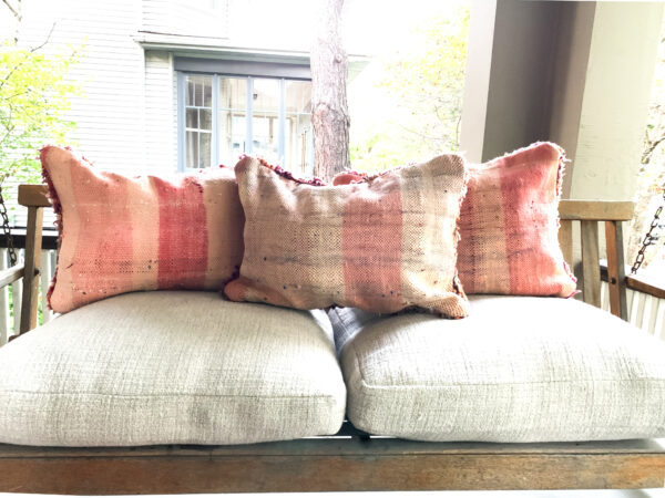 "One of a kind. Moroccan pillow made from antique hand woven rugs, 2 sided pillow - thick plush wool on one side and flat wool on the opposite. 20""x14.5"" . $115. Insert $50"